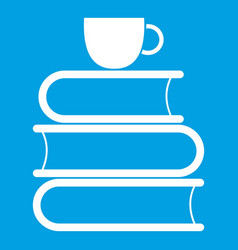 stack of books and white cup icon white vector image