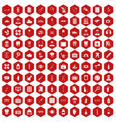 100 doctor icons hexagon red vector image vector image