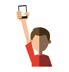 character man holding cellphone in hand vector image