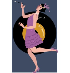 Flapper dancing the Charleston vector image vector image