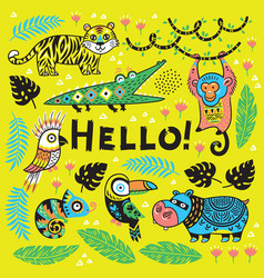 hand drawn poster with cool cartoon animals in the vector image vector image