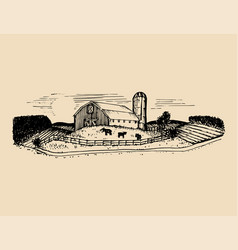 sketch of village barn fields and silo vector image