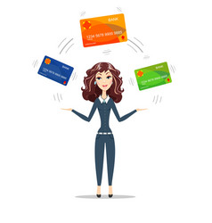businesswoman holding plastic cards vector image