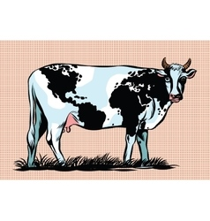 Cow milk world map pattern on the skin vector