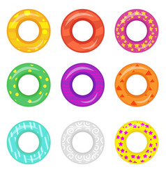 lifebuoy icon set rings for swimming collection vector image