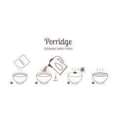 porridge cooking directions vector image vector image