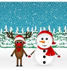 Reindeer and a snowman standing in the forest vector