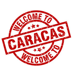 welcome to caracas red stamp vector image vector image