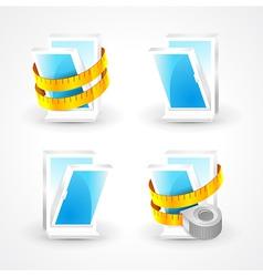windows plastic measurement element icons set vector image vector image