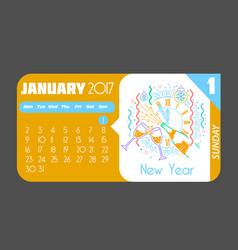1 january happy new year 2017 vector image