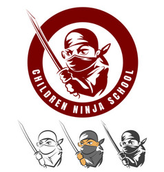 children ninja school cartoon emblem vector image vector image