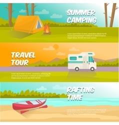 Summer Camping Horizontal Banners Set vector image vector image