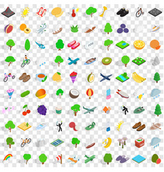 100 spring icons set isometric 3d style vector image