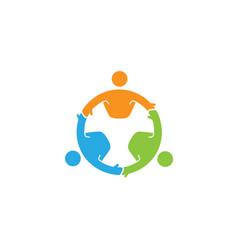 Abstract people circle three characters logo vector