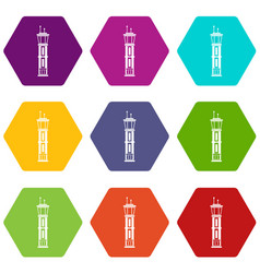 airport control tower icon set color hexahedron vector image
