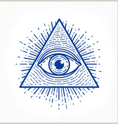 All seeing eye god in sacred geometry triangle vector