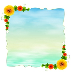 An empty blue template with flowers vector image