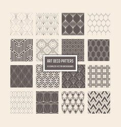 Art deco seamless patterns 16 geometrical vector