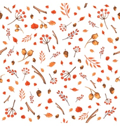Autumn seamless pattern made of hand drawn leaves vector