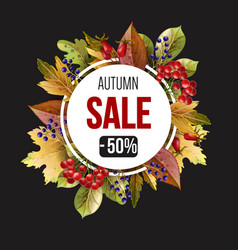 banner sale with autumn yellow leaves and berries vector image