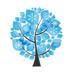 Beautiful Blue Winter Tree with Snowflakes on a vector