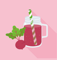beetroot juice in mason jar glass vector image