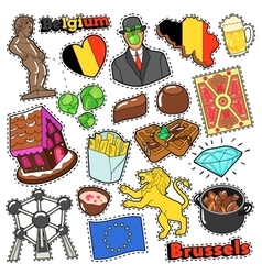 Belgium Travel Scrapbook Stickers Patches Badges vector