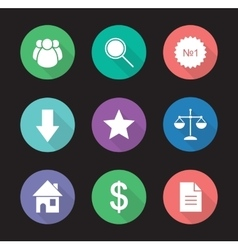 Business flat design icons set vector image