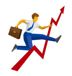 businessman with case jump over decrease in chart vector image
