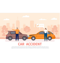 car crash auto accident with drivers with phones vector image