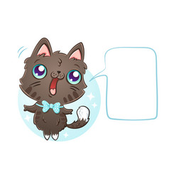 Cat with bubble for text vector