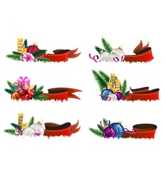 Christmas ornaments with ribbons vector