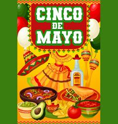 Cinco de mayo mexican food sombrero maracas vector
