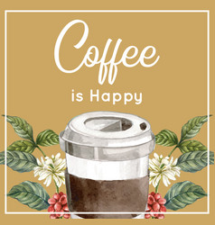 Coffee cup take a way with branch leaves tree vector