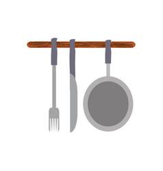 colorful ladles and pan over white background vector image