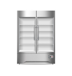 Commercial fridge icon realistic style vector
