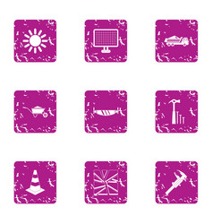 contractor icons set grunge style vector image