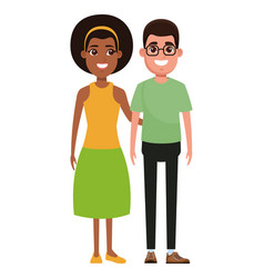 Couple avatar cartoon character portrait vector