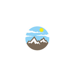 creative circle mountain logo vector image