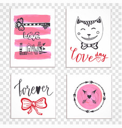 cute hand drawn valentines day cards with vector image