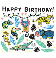 Cute happy birthday card with cartoon animals in vector