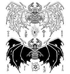 Design set sacred geometry signs on demon wings vector