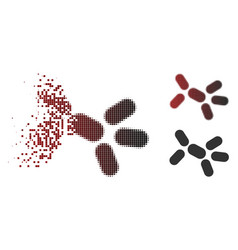 Disappearing pixel halftone yeast icon vector