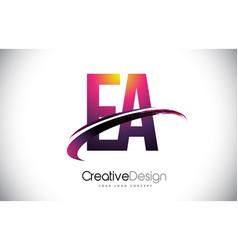 Ea e a purple letter logo with swoosh design vector