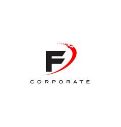 f modern letter logo design with swoosh vector image