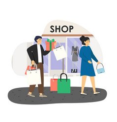 family couple shopping in fashion boutique flat vector image