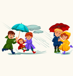 Family husband and wife walking rain with umbrella vector