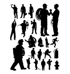 fireman and plumber detail silhouette vector image