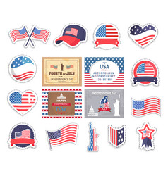 flag and caps usa old glory stickers set vector image