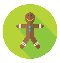 Flat Design Gingerbread Man Circle Icon vector